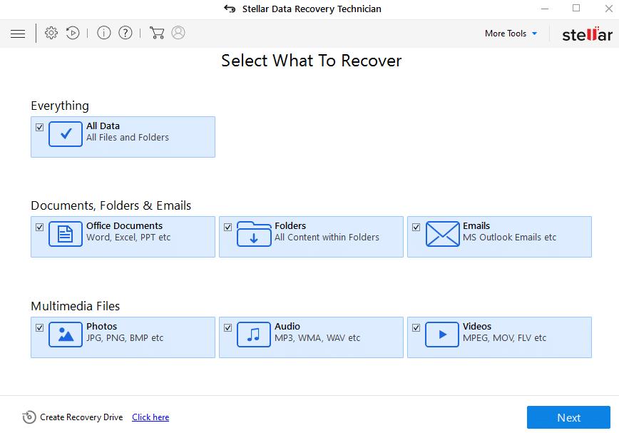 1-stellar-data-recovery-technician-select-data-type